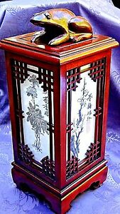 Vintage Chinese Rosewood Carved Decorated Lantern Lamp Electric W Frog On Top