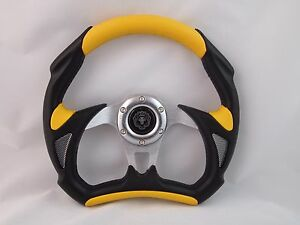 Yamaha Golf Cart Rhino Steering Wheel W Billet Adapter 3 Spoke