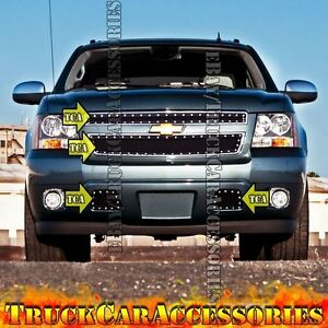 For Chevy Avalanche 2007 2011 2012 Overlay Black Mesh Rivet Grilles 4pc Combo