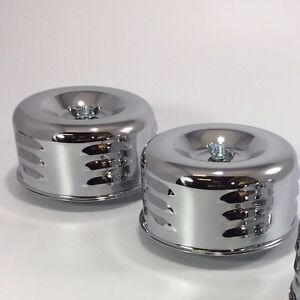 Pair 2 Chrome Louvered Air Cleaner Assembly 1 2 Bbl Barrel Carburetor Hot Rod