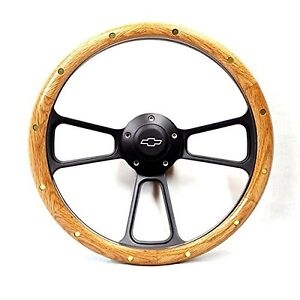 1968 1982 Corvette Real Oak Black Billet Steering Wheel Kit Chevy Horn Adapter