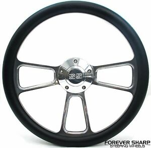 14 Billet Aluminum Black Wrap Steering Wheel Set Chevy Impala Ss Nova 1964 66