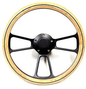 Wood Steering Wheel Real Oak Black Billet Complete With Horn Made In The Usa