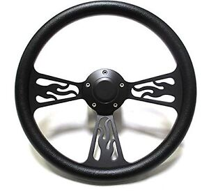 Hot Rod Street Rod Rat Rod Truck Steering Wheel Black Billet Flamed Design