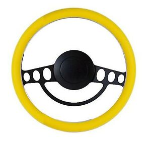 New World Motoring Yellow And Black Billet Hot Rod Steering Wheel 9 Hole F