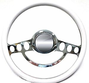 Ford Hot Rod Or Truck Chrome White Steering Wheel Fits Flaming River Column