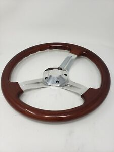 Chrome Wood Steering Wheel W Adapter Gm Chevy Jeep Buick Cadillac Dodge