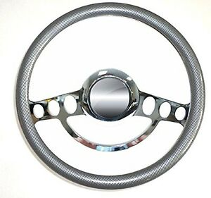 Hot Rod Street Rod Rat Chrome Carbon Fiber Steering Wheel 14 Nine Hole
