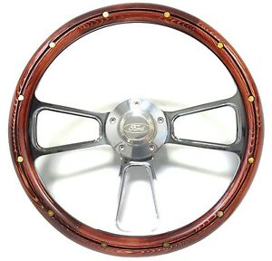 Pine Polished Billet Steering Wheel With Engraved Ford Logo Horn Button