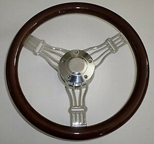 14 Dark Mahogany Billet Aluminum Banjo Steering Wheel Horn Hub Adapter