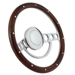 Hot Rod Street Rod Rat Rod Chrome Mahogany Steering Wheel 14 Nine Hole