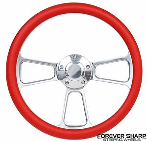 14 Chrome Aluminum Red Steering Wheel To Hot Rod 3 Bolt Adapter Column Grant