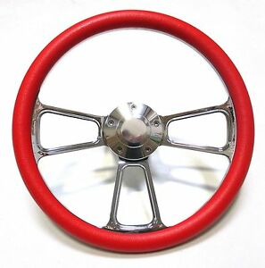 1961 1966 Dodge Dart Chrome And Red Steering Wheel Full Install Kit Horn
