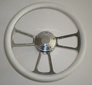 White Half Wrap 14 Billet Aluminum Steering Wheel Kit Hub Adaptor