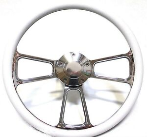 1961 1966 Dodge Dart Chrome And White Steering Wheel Full Install Kit Horn