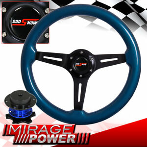 Deep Dish Steering Wheel Blue Wood Black Aluminum Center Blue Quick Release