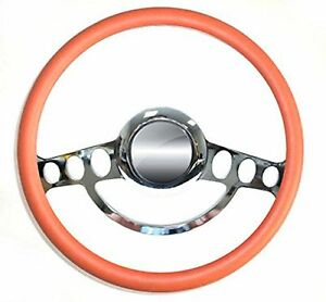 Hot Rod Street Rod Rat Rod Chrome Orange Steering Wheel Nine Hole 14