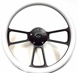 1967 Camaro 14 Billet White Black Steering Wheel Chevy Bowtie Horn Adapter