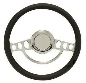 Chrome Black Vinyl Steering Wheel 14 For Ididit Flaming River Columns