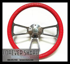 New World Motoring Nova Steering Wheel Billet Aluminum Red Half Wrap Horn