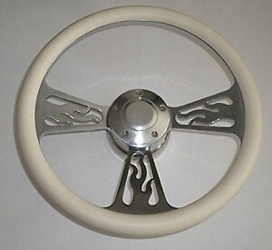 14 White Half Wrap Flame Billet Aluminum Steering Wheel Adaptor