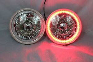 1971 1974 Chevy G30 Van 7 Round 6014 6015 6024 Red Led Smd Halo Headlights