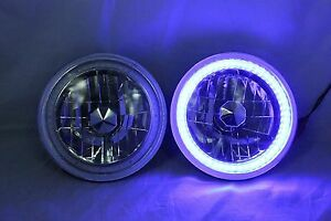1988 1989 Dodge Raider 7 Round 6014 6015 6024 Blue Led Smd Halo Headlights
