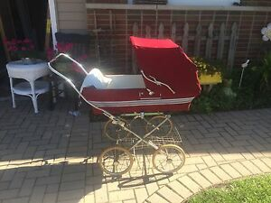 Beautiful Silver Cross Antique Stroller Red Vintage Baby