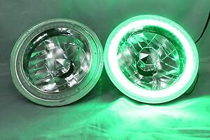 1974 1979 Dodge Ramcharger 7 Round 6014 6015 6024 Green Led Smd Halo Headlights