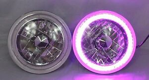 97 16 Jeep Wrangler Tj Jk 7 Purple Led Smd Halo Round Chrome Headlights