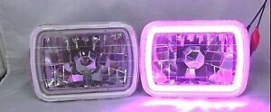 86 95 Jeep Wrangler Yj Glass Head Lights Smd Halo Purple Replacements