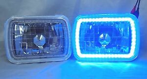 1982 1985 Ford Exp 7x6 H6014 6052 6054 Chrome Crystal Smd Ring Halo Blue Head