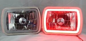 1982 1985 Ford Exp 7x6 H6014 6052 6054 Chrome Crystal Ccfl Ring Halo Red Head