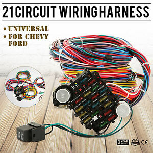 21 Circuit Wiring Harness Fit Chevy Universal Fuse Wires Chrysler