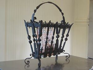 Hand Forged Wrought Iron Magazine Stand Spanish Revival Mission Arts And Crafts