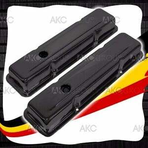 Black Steel Short Valve Covers For 58 86 Chevy Small Block 283 305 327 350 400