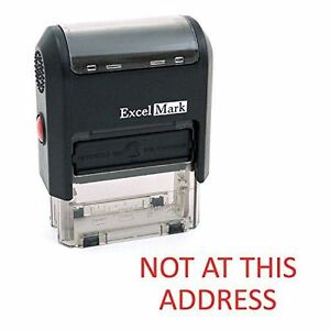 New Excelmark Not At This Address Self Inking Rubber Stamp A1539 Red Ink