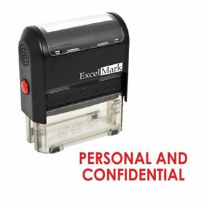 Excelmark Personal And Confidential Self Inking Rubber Stamp A1539 Red Ink
