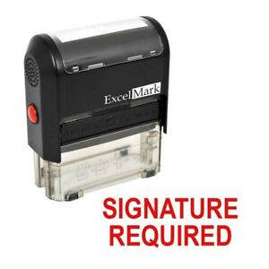 Signature Required Excelmark Self Inking Rubber Stamp A1539 Red Ink