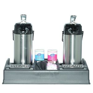 Service Ideas Apr25bl Double Airpot Stand And Condiment Station Holds 2 Airp