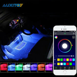 Car Interior Lights 4pcs Led Strips With Smartphone App Control For Toyota Honda