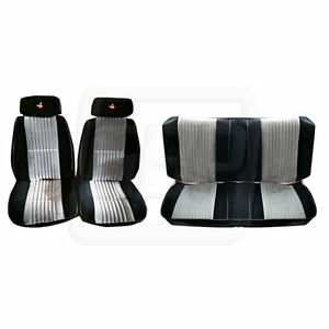 85 86 87 Gnx Grand National Black Silver Seat Upholstery Covers Front Rear