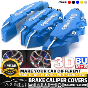 4x Auto Disc Brake 3d Cars Parts Caliper Cover Kit Front Rear Blue Universal M S