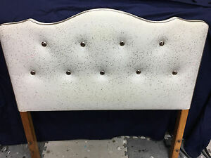 Mid Century Upholstered Twin Headboard White Vinyl With Gold Accents Hollywood