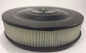 Black Air Cleaner Assembly 14 X 3 Round Fits 5 1 8 Carburetors