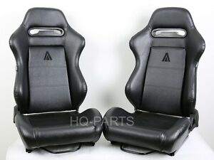 2 Tanaka Black Pvc Leather Racing Seats Reclinable Slider Fit For Ford Mustang