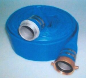 3 X 50 Blue Pvc Lay Flat Water Discharge Hose With M f Npsh Couplings