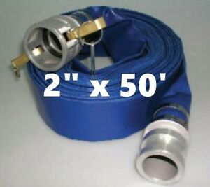 2 X 50 Blue Pvc Lay Flat Water Discharge Hose With C e Cam Lock Fittings