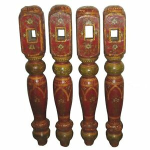 Set Of Hand Painted Antique Indian Table Legs