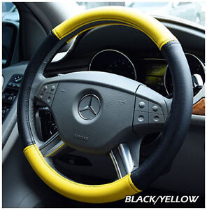 Iggee Black yellow S leather Premium High Quality Steering Wheel Cover 15